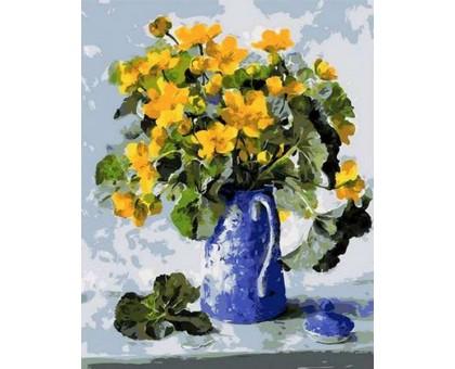 Картина по номерам Букет в синем кофейнике