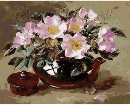 Картина по номерам Шиповник в глиняном чайнике