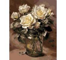 Картина по номерам Белые розы в банке