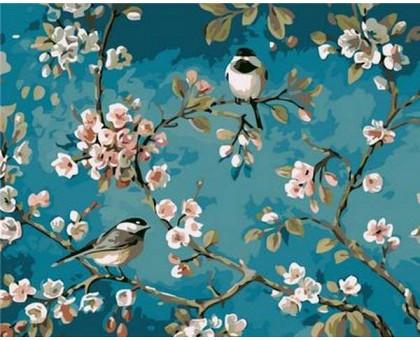 Картина по номерам Синички на яблоне