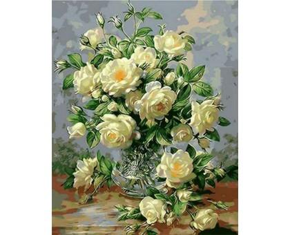 Картина по номерам Букет белых роз