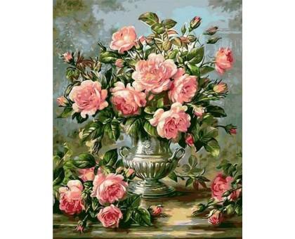 Раскраска по номерам Розы в серебряной вазе