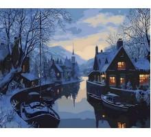 Картина по номерам Зима в рыбацкой деревне