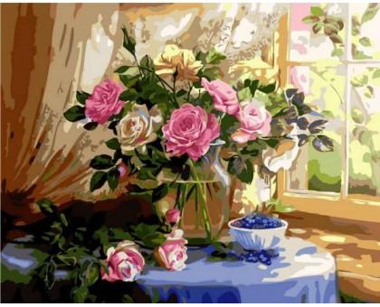 Картина по номерам Натюрморт с розами и черникой