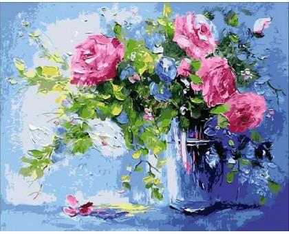 Картина по номерам Небесно-розовый букет