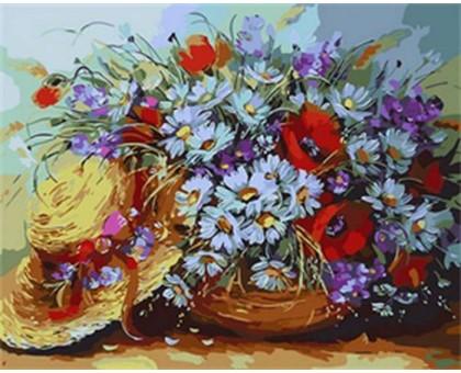 Картина по номерам Букет ромашек и шляпка