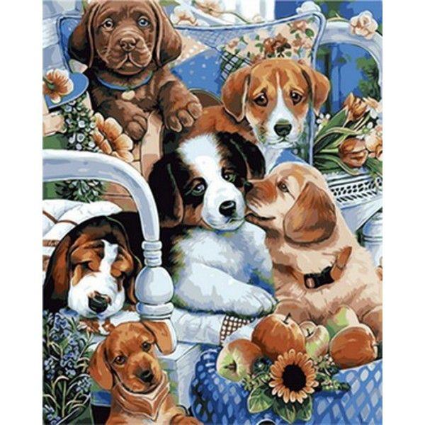 Картина по номерам Милые щенки