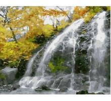 Картина по номерам Водопад и золотые листья