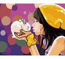 Картина по номерам Девочка с кроликом
