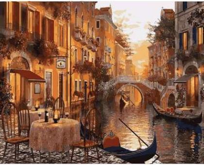 Картина по номерам Венеция. Кафе на берегу канала