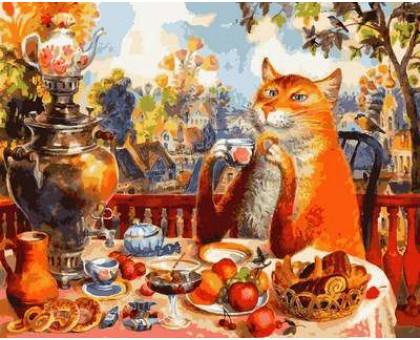 Раскраска по номерам Кошачье чаепитие