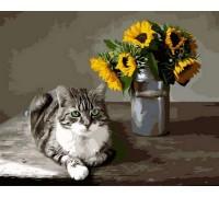 Картина по номерам Котик и букет подсолнухов