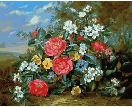 Картина по номерам Пионы и белые цветы