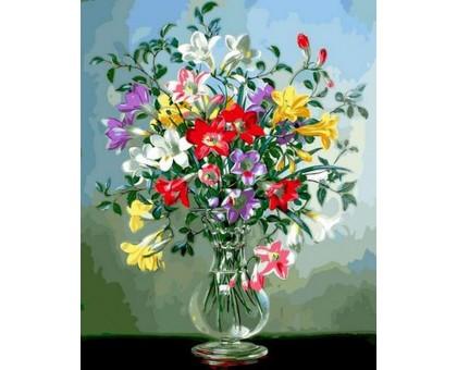 Картина по номерам Полевые цветы в стеклянной вазе