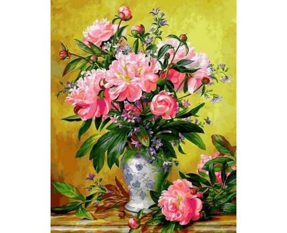 Картина по номерам Пионы в изящной вазе