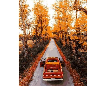 Рисование по номерам Дорога через осенний лес