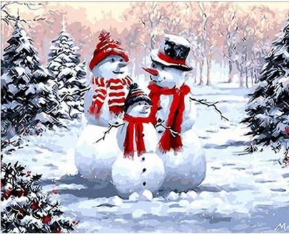 Картина по номерам Семейство снеговиков