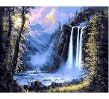Картина по номерам Горный водопад