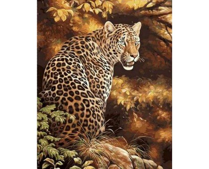 Картина по номерам Леопард в осеннем лесу