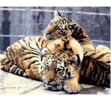 Картина по номерам Задумчивые тигрята