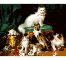 Картина по номерам Кошачье семейство