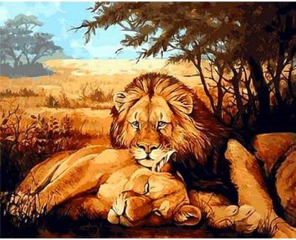 Картина по номерам Львы на отдыхе