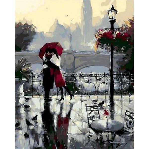 Картина по номерам Поцелуй под дождем