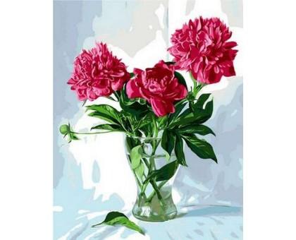 Картина по номерам Пионы в стеклянной вазе