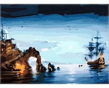Картина по номерам Лунная ночь (корабль)