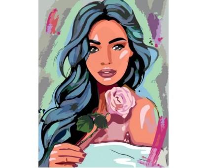 Картина по номерам Девушка с розой