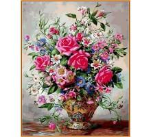 Картина по номерам Букет роз и полевых цветов (в раме)