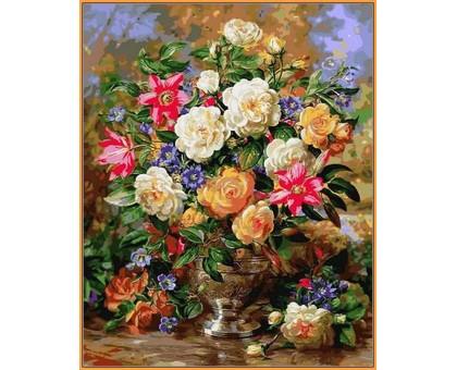 Картина по номерам Лилии и желтые розы (в раме)
