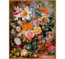 Картина по номерам Букет из роз и лилий (в раме)