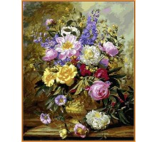 Картина по номерам Букет белых и желтых роз (в раме)