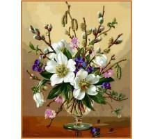 Картина по номерам Белоснежные цветы (в раме)