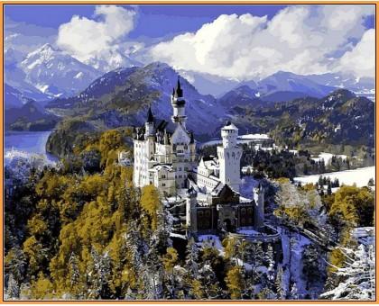 Картина по номерам Замок Нойшванштайн зимой (в раме)