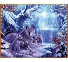Картина по номерам Волчья зима (в раме)