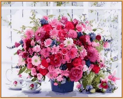 Картина по номерам Розовые хризантемы (в раме)