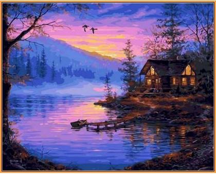 Картина по номерам Тихая заводь (в раме)