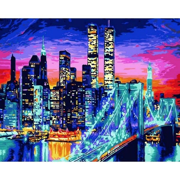 Картина по номерам Бруклинский мост в огнях