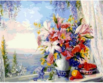 Картина по номерам Лилии на оKHе с видом на море