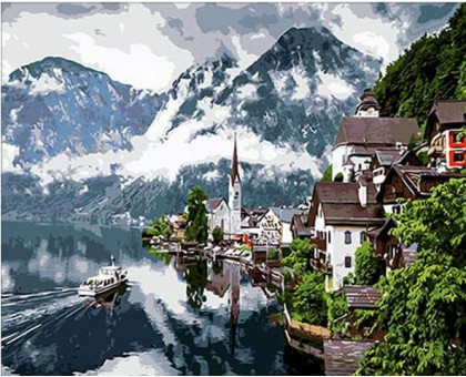Картина раскраска по номерам Швейцарские Альпы
