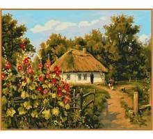 Картина по номерам Сельская хатка  (в раме)