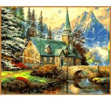 Картина по номерам Альпийский пейзаж. Часовня (в раме)
