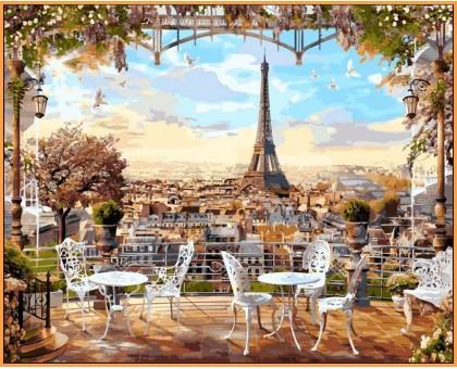 Картина по номерам Кафе с видом на Эйфелеву башню (в раме)