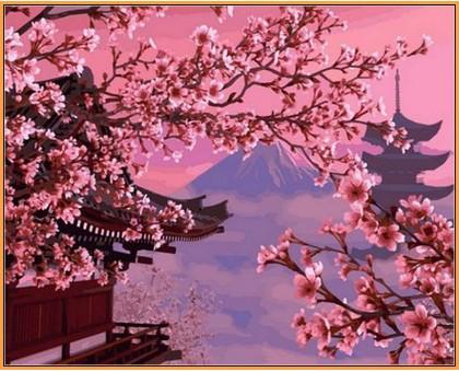 Картина по номерам Японский пейзаж (в раме)