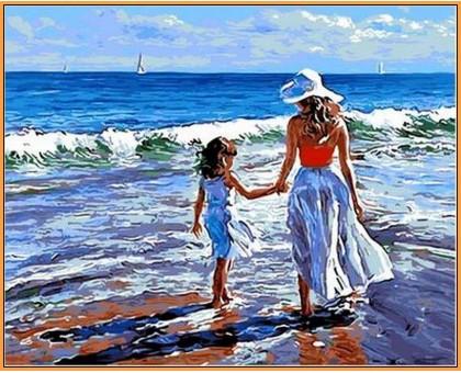 Картина по номерам Прогулка с мамой (в раме)