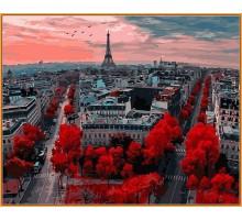 Картина по номерам Алые краски Парижа (в раме)