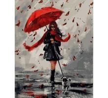 Раскраска по номерам Прогулка в дождливый день