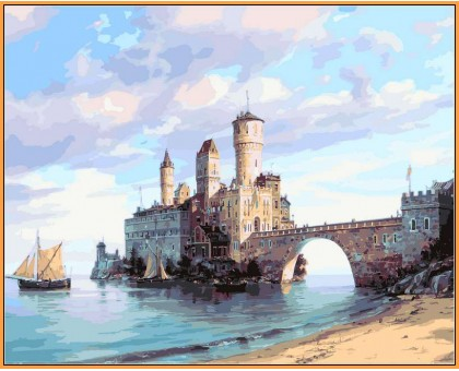 Картина по номерам Цитадель на острове (в раме)